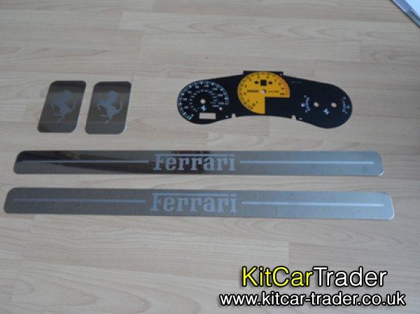 Ferrari MR2 vvti Replica Speedo Dial backs, sill plates & Door Plates